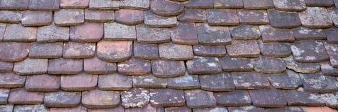 Historiskt tak med olika tegelplattor som bakgrund arkivfoton