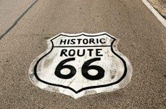 Historiskt tecken för Route 66 fotografering för bildbyråer