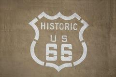 Historiskt tecken för rutt 66 arkivfoto