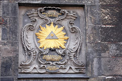 Historiskt tecken på byggnad på Aachen, Tyskland Royaltyfria Bilder