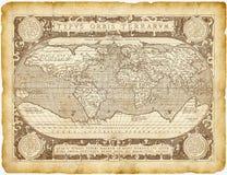Historiskt världskartapergament Arkivbild