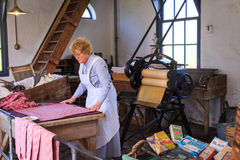 Historiskt washrum i det Zuiderzee museet Arkivfoto