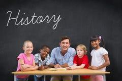 History against blackboard Stock Photo