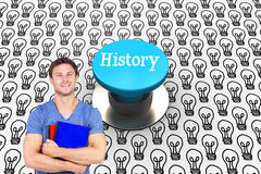 History against blue push button Royalty Free Stock Photography