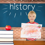History against red apple on pile of books in classroom Stock Images