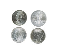 History of American Silver Dollars on White Background Stock Photos