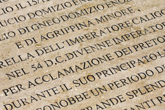 History of Ancient Rome Engraved on Marble. History of ancient Rome in Italian engraved on marble or stone royalty free stock photo