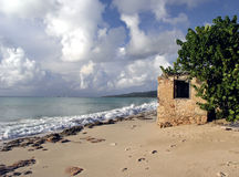 History on the Beach. Small, historic ruin on the beach in Fredriksted, St. Croix, U.S. Virgin Islands Stock Photo