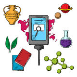 History and biology science icons Royalty Free Stock Photos