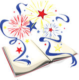 History book. A illustration of an open history book with patriotic fireworks exploding from the open pages royalty free illustration