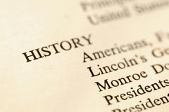 HIstory book page. Selective focus of page with the word history and corresponding categories Stock Image