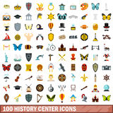 100 history center icons set, flat style Stock Photo