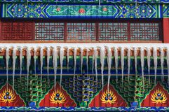 In the history of Chinese temple architecture icicles Stock Photo