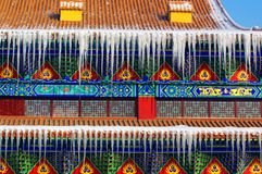 In the history of Chinese temple architecture icicles Royalty Free Stock Images
