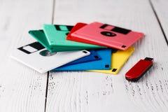 History of computers, floppy disk - retro storage Royalty Free Stock Photos
