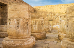 The history of Egypt. The Mortuary Temple of Ramesses III in Medinet Habu is one of the best preserved in Theban Necropolis, Luxor, Egypt Royalty Free Stock Images