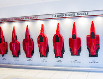 History of the evolution of forms of Ferrari cars at the booth Ferrari Museum Royalty Free Stock Photography