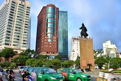 History famous general statue and busy traffic, Ho Chi Minh City center, VietNam Royalty Free Stock Images