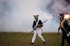 History fan in military costume, Austerlitz Stock Image