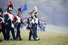History fans in military costume reenacts the Battle of Three Emperors Stock Image
