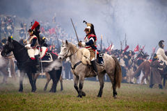 History fans in military costume reenacts the Battle of Three Emperors Stock Photos