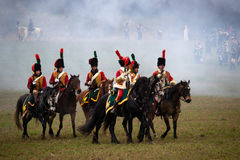 History fans in military costume reenacts the Battle of Three Emperors Stock Photo