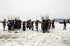 History fans in military costumes Royalty Free Stock Photos