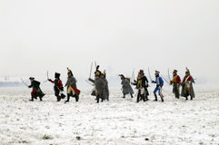 History fans in military costumes. TVAROZNA, CZECH REPUBLIC - DECEMBER 3: History fans in military costumes reenact the battle of Austerlitz, which Napoleon won Stock Photography