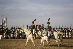 History fans in military costumes reenacts the Battle of Three Emperors Royalty Free Stock Photography
