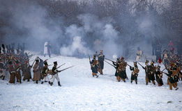 History fans in military costumes reenacts the Battle of Three Emperors Stock Photos