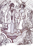History of Fashion: 70s couple. Hand drawn design about 70s fashion style. This has been scannered in high definition and you can fill with color and modify as stock illustration