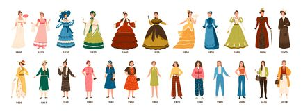 History of fashion. Collection of female clothing by decades. Bundle of pretty women dressed in stylish clothes isolated. On white background. Colorful vector royalty free illustration