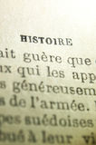 History in french. In an old book Royalty Free Stock Image