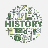 History green round symbol. Vector colorful flat circular symbol of the study of past events with word history in center vector illustration
