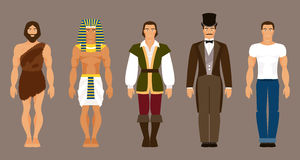 The history of human development. Vector illustration. The history and evolution of mankind. The primitive man, ancient Egypt, medieval, modern man Royalty Free Stock Images