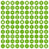 100 history icons hexagon green Royalty Free Stock Photography