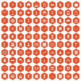 100 history icons hexagon orange. 100 history icons set in orange hexagon isolated vector illustration Stock Illustration