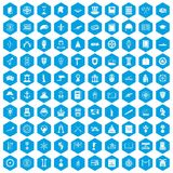 100 history icons set blue. 100 history icons set in blue hexagon isolated vector illustration Royalty Free Illustration
