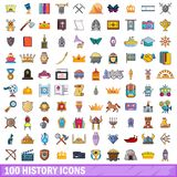 100 history icons set, cartoon style. 100 history icons set. Cartoon illustration of 100 history vector icons isolated on white background Stock Photography