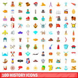 100 history icons set, cartoon style. 100 history icons set in cartoon style for any design vector illustration Royalty Free Stock Image