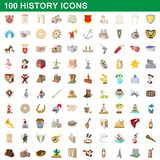 100 history icons set, cartoon style. 100 history icons set in cartoon style for any design illustration vector illustration