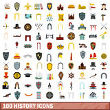 100 history icons set, flat style Royalty Free Stock Images