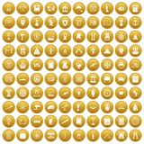100 history icons set gold. 100 history icons set in gold circle isolated on white vectr illustration Royalty Free Illustration