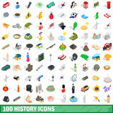 100 history icons set, isometric 3d style Royalty Free Stock Photo