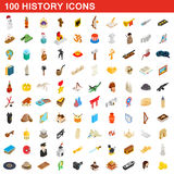 100 history icons set, isometric 3d style. 100 history icons set in isometric 3d style for any design vector illustration Stock Images