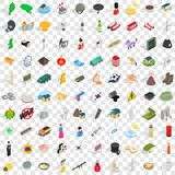 100 history icons set, isometric 3d style. 100 history icons set in isometric 3d style for any design vector illustration stock illustration