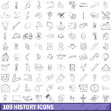 100 history icons set, outline style Royalty Free Stock Photos
