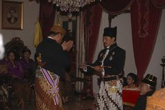 HISTORY OF JAVANESE EMPIRE. The Throne Anniversary ceremony of Javanese Nobility of Surakarta, one of successor state of Mataram Kingdom of Java, pictured in Stock Photo