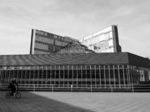 History Library in Cambridge in black and white. CAMBRIDGE, UK - CIRCA OCTOBER 2018: Seeley Historical Library at University of Cambridge designed by sir James royalty free stock image