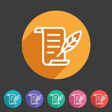 History list feather icon flat web sign symbol logo label Stock Photos